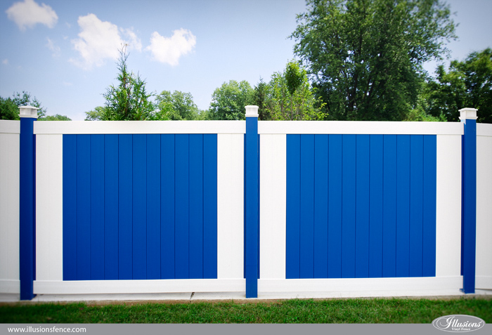 blue and white pvc vinyl privacy fence